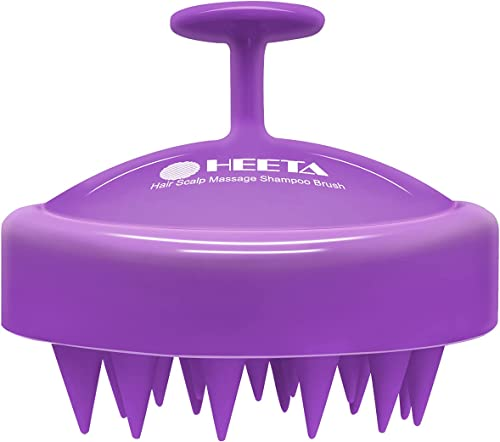 Hair Shampoo Brush, HEETA Scalp Care Hair Brush with Soft Silicone Scalp Massager (Purple)