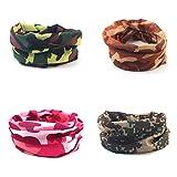 AoToZan 4 PCS Camouflage Multifunktionstuch Kopfbedeckungen Bandana Schal Elastische Halstücher