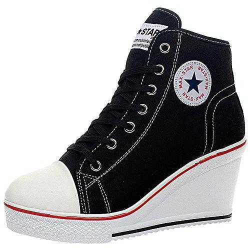 wealsex Sneaker Donna Zeppa Alte Donna Scarpe Lato Zip 8 CM Allacciate Donna Tela Scarpe da Moda Sneaker (Nero,38)