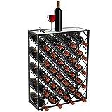 Smartxchoices 32 Bottle Wine Rack Table Heavy Duty Glass Finish Top Free Standing Floor Metal Wine Bottle Holder Storage Organizer Display Shelf Wobble-Free