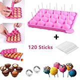 Junxave Bpa frei, Silikon-Popformen & Eiswürfelschalen mit 120 Sticks für Kuchen, Lutscher, Süßigkeiten, Gummibärchengelee Rosa