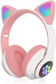 HC LIFE Audifonos Auriculares Inalambricos Bluetooth 5.0 de Diadema Plegable con Orejas de Gato para Niñas con Luz LED RGB de Colores y Cancelación de Ruido, Regalo Ideal (Rosa)