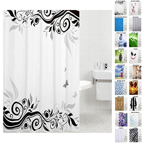 Sanilo Duschvorhang, viele schöne Duschvorhänge zur Auswahl, hochwertige Qualität, inkl. 12 Ringe, wasserdicht, Anti-Schimmel-Effekt (180 x 200 cm, Black Flower)