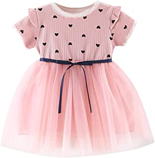 3ce727eae58 RAINED-Toddler Baby Girls Princess Dress Dot Tulle Tutu Skirt Ruched  Patchwork Lace Party Clothes