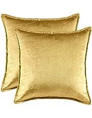 XIN NA RUI Kussensloop Solid Blue Cushion Covers voor Sofa Couch Bed Sierkussen Hoesjes 45x45 Gouden Fluwelen Vierkante Kussenslopen 50x50 (Color : Gold, Size : 2 pieces 45x45CM)