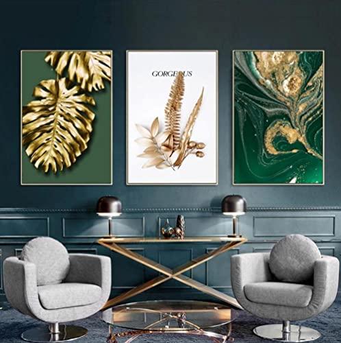 Cuadro sobre Lienzo Hojas de oro abstractas Poster Y Impresiones Decoración salón...