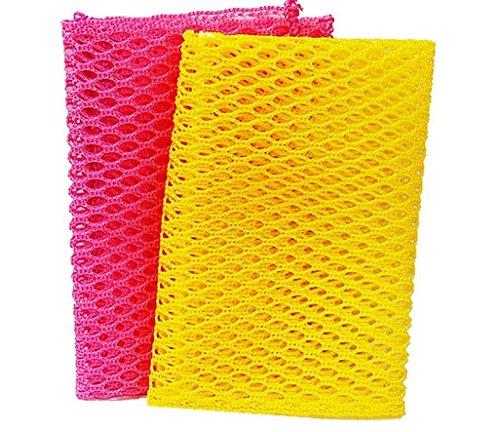 革新的な食器洗濯ネットの布/Scourers - お皿を洗うためのパーフェクトスクラバ - - 100%臭気無料/クイックドライ - カビ臭いとノーモアスポンジ - 2PCS - ピンク/イエロー
