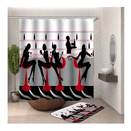 Knbob Polyester Duschvorhang & Badezimmerteppich Set Frauen an der Bar Bad Vorhang Badvorleger 165x200CM mit 12 Duschvorhangringen