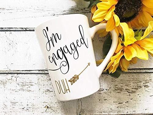Dozili Im Engaged Duh Tasse Custom Bride Kaffeetasse Glitzer Kaffeetasse Lustige Verlobungsgeschenk Brautkaffee Tasse Braut Geschenk 325 ml weiß