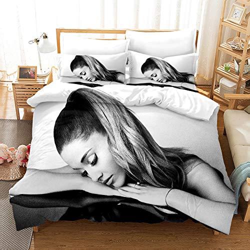 HRX Juego de cama infantil, incluye funda nórdica y funda de almohada, 100% microfibra, antibacteriano, impresión digital 3D, 2 o 3 piezas, Ariana Grande (R5,200 x 200 cm)