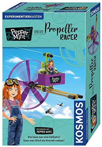 Kosmos 606091 Pepper Mint und der Propeller-Racer, Wie baut man eine Seilbahn? Kann man Wind als Antrieb nutzen? Experimentierset, Ideal auch als Mitbringsel und Geschenk für den Kindergeburtstag