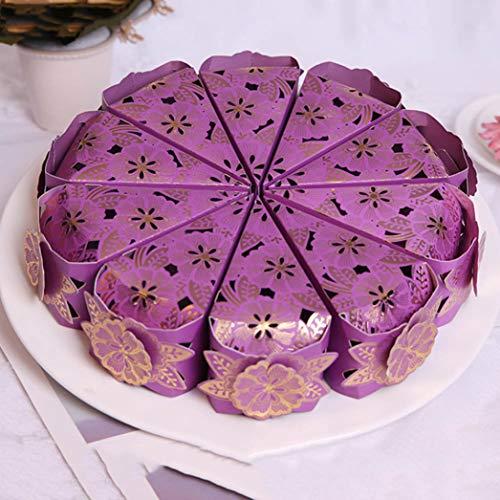 zhengao Skillful Dreieckiger Candy Kiste Hochzeitstorte Einzigartige Hübsches Geschenk Taschen Gehäuse für Wohndeko - Lila