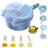 QUICK UNBOX Multipurpose Vegetable Chopper, Mandoline Slicer, Salad Cutter, Fruits Juicer, Cheese Grater with Interchangeable Blades, Drain Basket, and Egg White Separator for Kitchen
