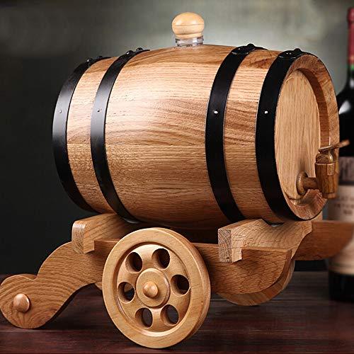 NEHARO Hölzernes Weinfass Wein Werkzeuge Whisky-Zufuhr Weinfass aus Holz Whisky Trinken Brunnen for Partys Geschenke - 3L (Farbe : Beige, Größe : 3L)