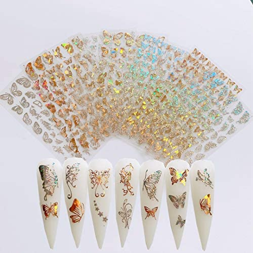 NAIL ANGEL 8Sheets Nail Art Adhesive Sticker Sheets Different Laser Gold and Silver Color Butterfly product image