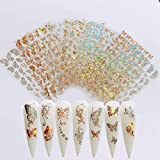 NAIL ANGEL 8Sheets Nail Art Adhesive Sticker Sheets Different Laser Gold and Silver Color Butterfly Shapes Nail Art Decoration 10238