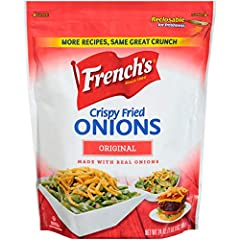 French's Crispy Fried Onions are made with only carefully sourced, whole yellow globe onion to deliver an exceptional texture and craveable flavor. Non-GMO, dairy-free, vegetarian, kosher and free from high fructose corn syrup The 24 oz bag is a recl...