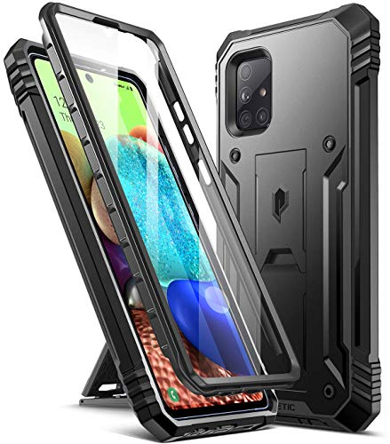 Poetic Revolution Case for Samsung Galaxy A71 5G UW (Verizon Version), [Not Fit Galaxy A71 4G and A71 5G] Full-Body Rugged Shockproof Protective Cover with Kickstand, Built-in-Screen Protector, Black