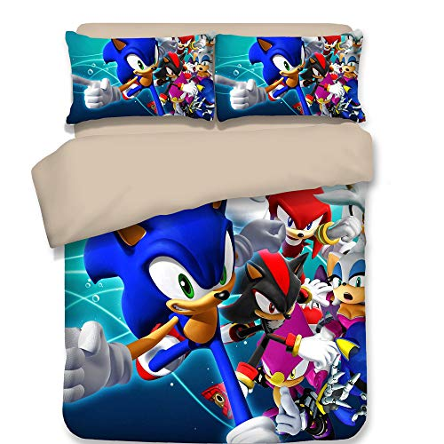 WSE Printed Sonic The Hedgehog Game Duvet Cover Set Cute 3D Cartoon Bedding Set Super Soft Microfiber 3 Pieces Best Gift for Kids, Twin Size