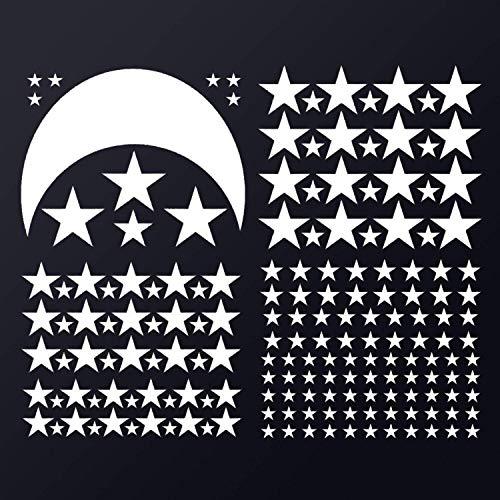 Pegatina de vinilo para pared, diseño de luna y estrellas, color blanco
