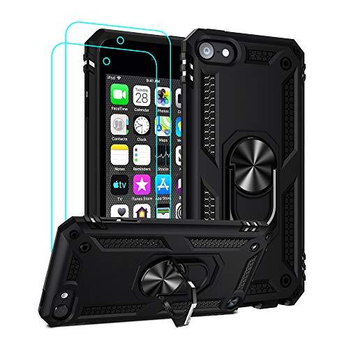 ULAK Custodia per iPod Touch 7, Cover iPod Touch 6/5 Soft TPU + Rigida PC Cover con Supporto e 2 Pezzi Pellicola Prottetiva Custodia per Apple iPod Touch 5/6 /7a Generazione, Nero