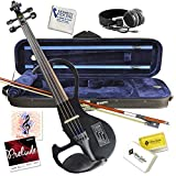 Electric Violin Bunnel Edge Outfit 4/4 Full Size Clearance (BLACK)- Carrying Case and Accessories Included - Headphone Jack - Highest Quality with Piezo ceramic pick-up By Kennedy Violins