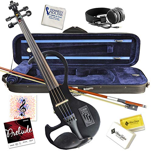 Electric Violin Bunnel Edge Outfit 4/4 Full Size (BLACK)- Carrying Case and Accessories Included - Headphone Jack - Highest Quality with Piezo ceramic pick-up