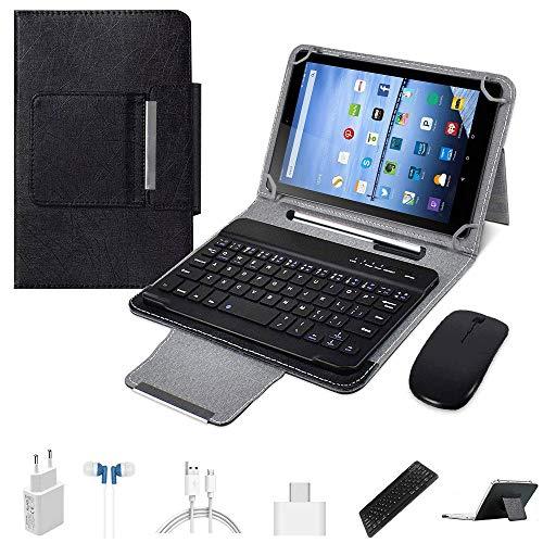 Tablets 10.1 Pulgadas Android 9.0 Tablet PC 64Go ROM 4Go RAM, Quad-Core 4G LTE Dual SIM Call 8MP 8000mAh, Rápido Tablets Baratas 2 en 1 con Teclado y Mouse Netflix/Bluetooth /Google Play (Negro)