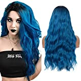 YMHPRIDE Peluca rizada natural azul Ombre para mujeres con raíces oscuras Peluca sintética de parte media ondulada larga para disfraz de fiesta de Halloween 22 pulgadas