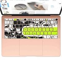 igsticker MacBook Air 13inch 2018 専用 キーボード用スキンシール キートップ ステッカー A1932 Apple マックブック エア ノートパソコン アクセサリー 保護 008024 クール 黄緑 植物 蝶