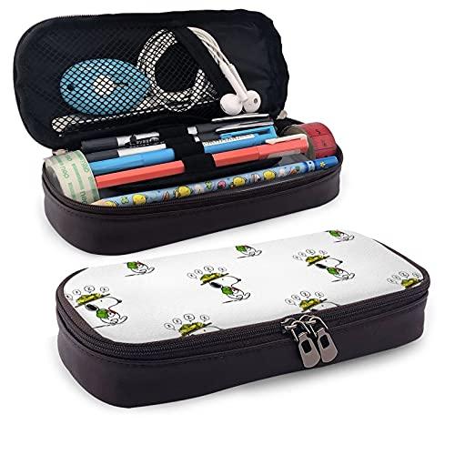 Snoopy and Woodstock Estuche de gran capacidad para bolígrafos, bolsa de papelería, organizador de escritorio con cremallera para suministros escolares y de oficina
