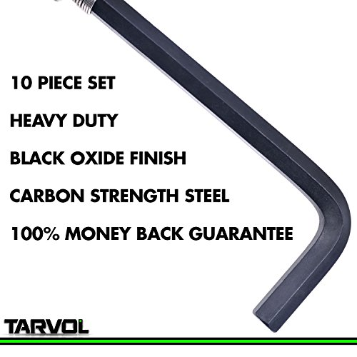 Allen Wrench Hex Key Set (10 WRENCHES - INDUSTRIAL GRADE) SAE Sizes 1/16-3/8 - Carbon Steel Construction with Black Finish