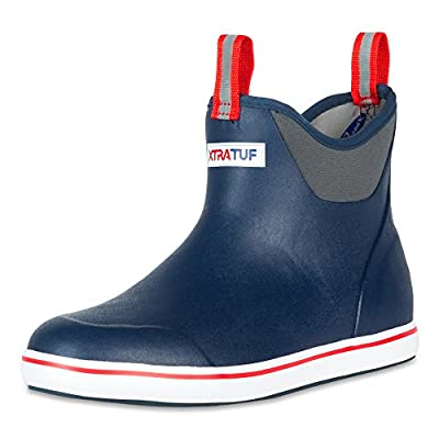 "Xtratuf 22733-NVY-110 Performance Series 6"" Men's Full Rubber Ankle Deck Boots, Navy & Red (22733)"