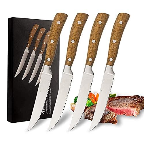 Xizdth 4 unids bistec de Cocina Conjunto de Cuchillos de Carne Cuchillos de bistec de Acero Inoxidable Profesional Mango de Madera de Corte serrado filetes Cordero chuletas de Cerdo