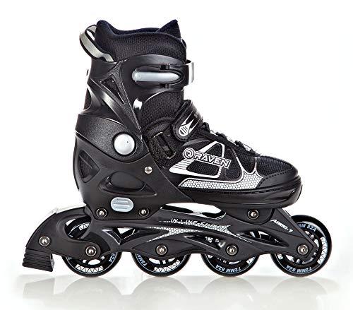 RAVEN Inline Skates Inliner Spirit verstellbar (Black/White, 37-40(23,5cm-26cm))