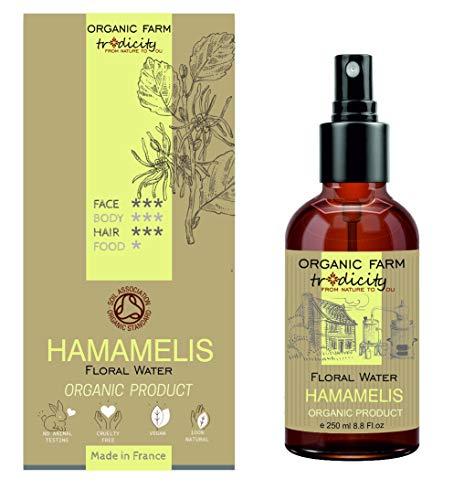 Organic Farm Hidrosol Hidratante Agua floral Orgánica de Hamamelis Botella de vidrio Spray 250 ml, Cuidados y Repost