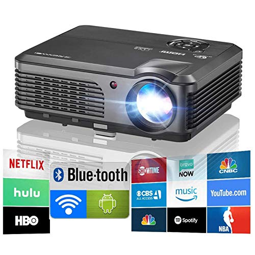 Wireless Projector WiFi Bluetooth 4600 Lumens (2021 Updated), Portable HD LED Projector 1080p Support, Digital Home Theater Cinema Projector Indoor Outdoor Movie Game with HDMI USB TV Audio AV Ports