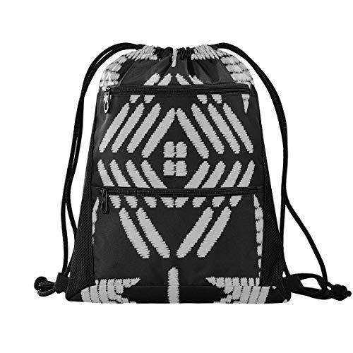 Petit sac à dos motif de broderie aztèque sac de sport de sport vectorielle continue pour les hommes sac à dos mignon pour les femmes léger avec poche à glissière sport école athlétique voyage gymna