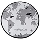 Baby Spieldecke, 135 cm Baby Runde Abenteuer Weltkarte Muster Circular Kid Spielmatte Verdicken Baby Krabbeln Spielmatte
