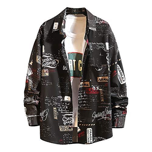 Camicia da Uomo Manica Lunga Nuova Primavera Moda Top Grande Stampato Confortevole (M,3Nero)