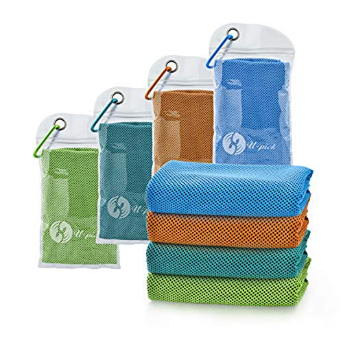 """U-pick 4 Packs Cooling Towel (40""""x 12""""), Ice Towel,Microfiber Towel,Soft Breathable Chilly Towel for Yoga,Sport,Gym,Workout,Camping,Fitness,Running,Workout&More Activities (4 Color Collection-H)"""