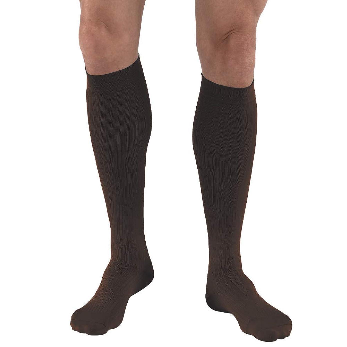 JOBST Men's Dress Knee High 8-15 Closed Toe Socks, Brown, Large