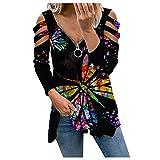 Wave166 Camiseta de manga larga para mujer, corte bajo, cuello en V, con cremallera, estampado de tie-dye, Negro , S
