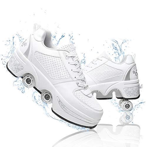 YOUSIOI Zapatos con Ruedas de deformación Zapatos de Patinaje retráctiles Que se convierten en Patines para Exteriores Zapatos de Parkour, Patines cuádruples para Hombres