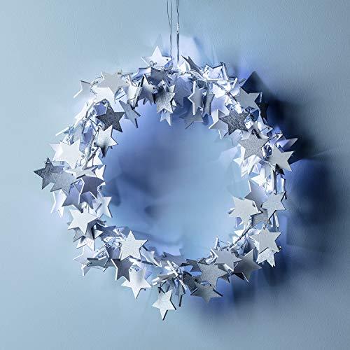 Lights4fun 30cm Sternen Weihnachtskranz mit 20er LED Micro Lichterkette weiß Timer