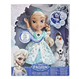 3 AAA batteries are included and needed for replacement Watch Elsa's power flurry with Snow Glow Elsa With a touch of her magical snowflake necklace hear Elsa talk to her Frozen friends and watch the magic as her dress lights up in a flurry of lights...
