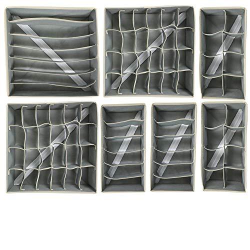 EONWAY Caja de Almacenamiento Plegable para cajones - 7 Paquetes,Organizador para Ropa Interior, Separadores de Cajones,Ropa Interior, Sujetadores, Corbatas, Bufandas, Telas no Tejidas,Ahorra Espacio