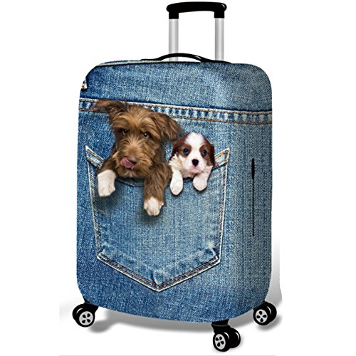 YEKEYI Washable Travel Luggage Cover Funny Cartoon 3D Denim Animals Suitcase Protector 18-32 Inch