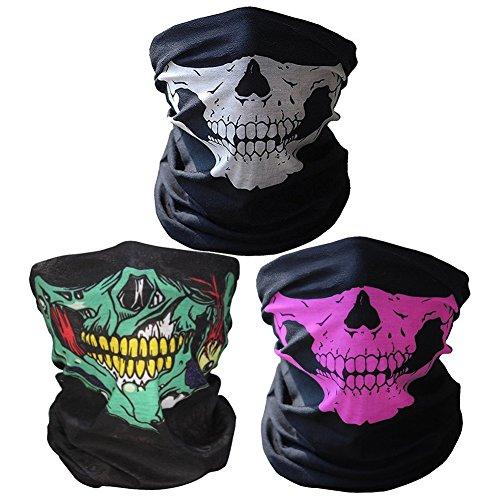 3 x Premium multifunción Bandana | Pañuelo con calavera de esqueleto Máscaras para moto bicicleta Esquí Paintball Gamer Carnaval Disfraz… (green/white/pink)