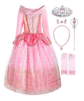 ReliBeauty Girls Princess Dress up Costume with Accessories, 6-6X, Pink